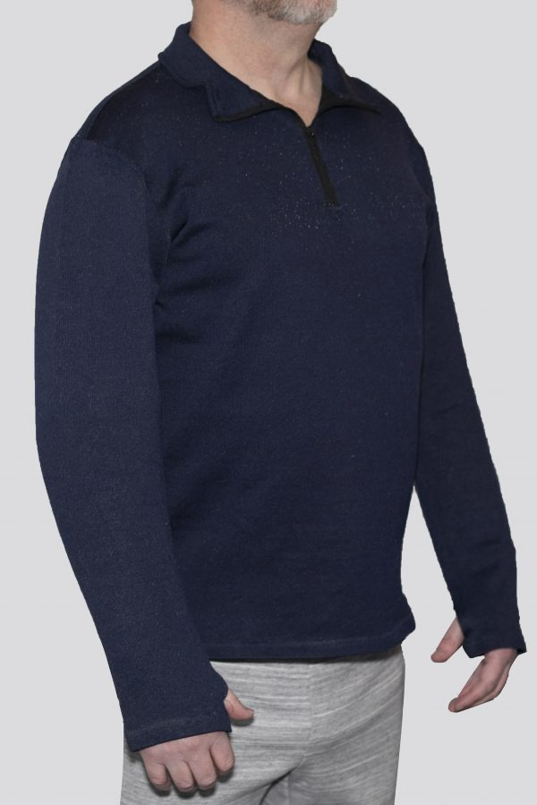 Cut-Tuff™ Cut Resistant Half Zip Polo-Neck Long Sleeved T-Shirt Navy