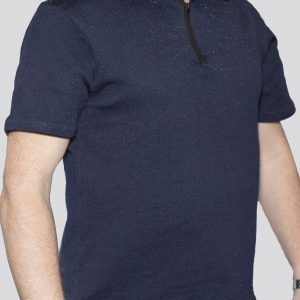 Cut-Tuff™ Cut Resistant Half Zip Polo-Neck T-Shirt Navy