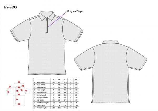 Cut-Tuff™ Cut Resistant Half Zip Polo-Neck T-Shirt Size Chart