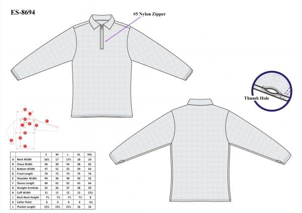Cut-Tuff™ Cut Resistant Half Zip Polo-Neck Long Sleeved T-Shirt Size Chart