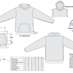Cut and Slash Resistant Hoodie Size Chart